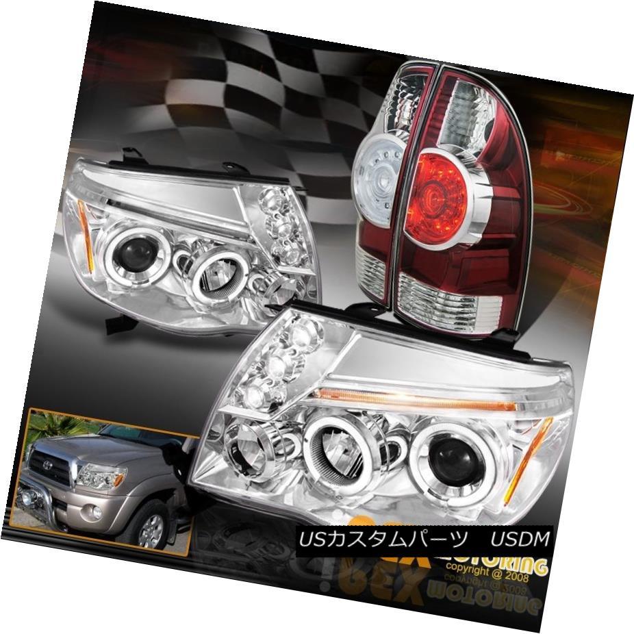 テールライト 05-11 Toyota Tacoma Chrome Halo Projector Head Light + Bright LED Red Tail Light 05-11トヨタタコマクロムハロープロジェクターヘッドライト+ブライトLEDレッドテールライト