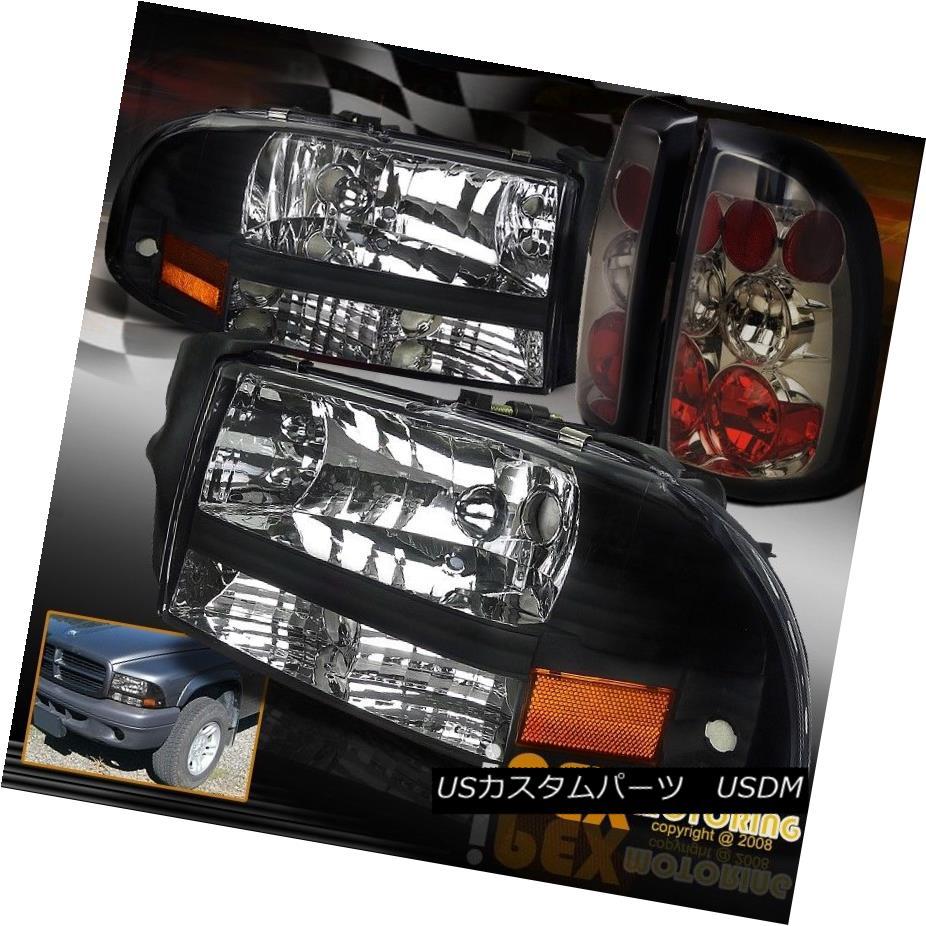 テールライト 1997-2004 Dodge Dakota Black Headlight Corner Signal Light + Tail Lights Smoke 1997-2004ダッジダコタブラックヘッドライトコーナー信号ライト+テールライトスモーク