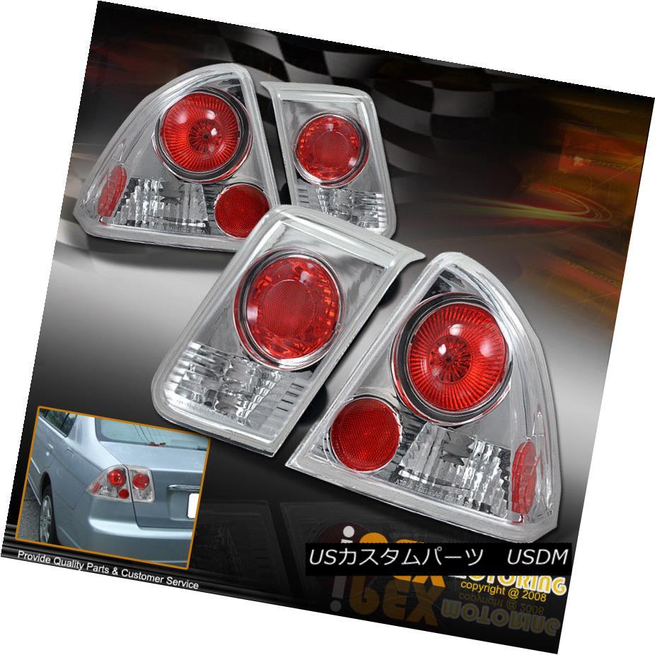 テールライト 01-03 Honda Civic Sedan 4DR CHROME+RED JDM Altezza Rear Brake Tail Lights Lamps 01-03ホンダシビックセダン4DRクローム+赤JDM Altezzaリアブレーキテールライトランプ
