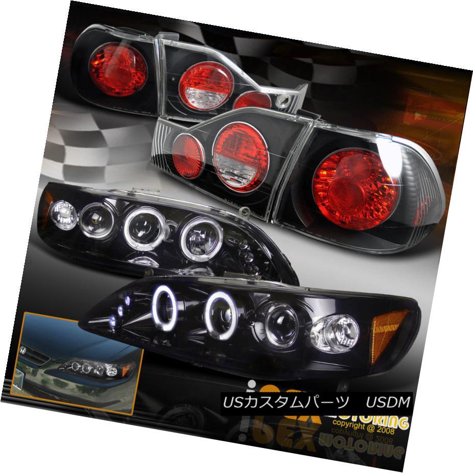 テールライト 1998-2000 Honda Acord 4Dr Dual Halo Projector LED Headlights W/ Black Tail Light 1998-2000ホンダアコード4DrデュアルハロープロジェクターLEDヘッドライトW /ブラックテールライト