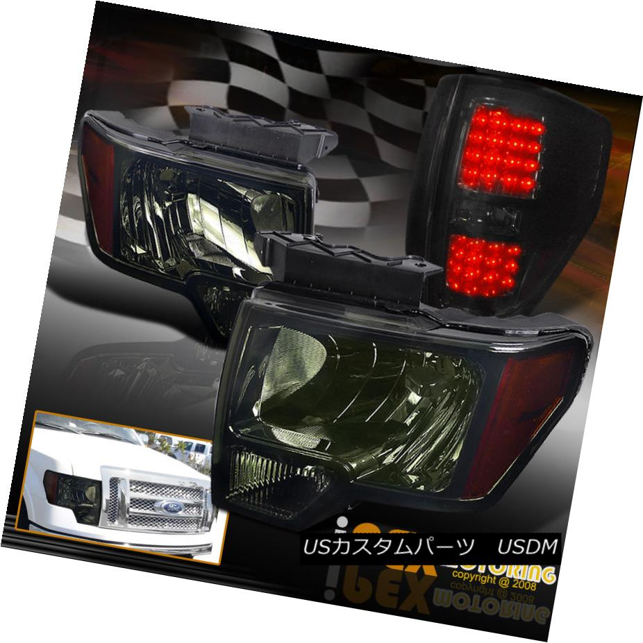テールライト New 2009-2014 FORD F150 Dark Smoked-Black Headlights + LED Smoke Tail Lights 新しい2009-2014フォードF150ダークスモークブラックヘッドライト+ LED煙テールライト