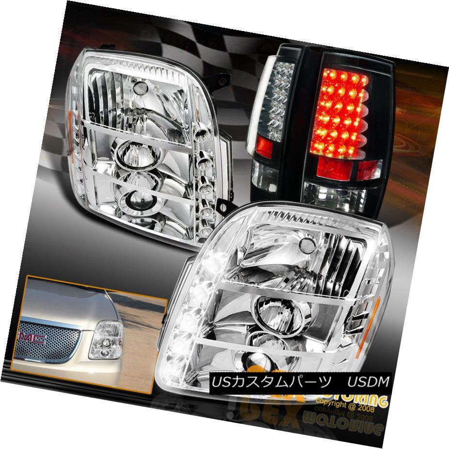 テールライト 2007-2014 GMC Yukon Denali Projector LED Chrome Headlight + LED Black Tail Light 2007-2014 GMCユーコンデナリプロジェクターLEDクロームヘッドライト+ LEDブラックテールライト