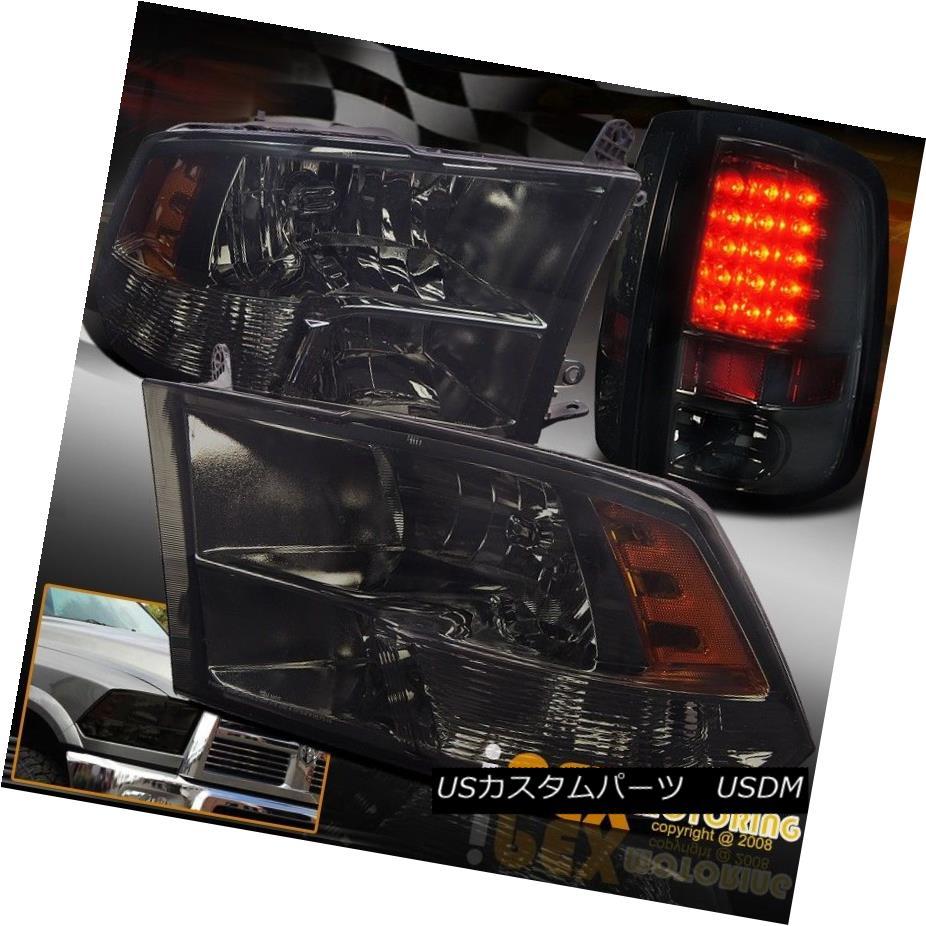 テールライト 2009-2016 Dodge Ram 1500 Dark Smoke Quad Sylte Head Light + Smoked LED Tail Lamp 2009-2016ダッジラム1500ダークスモーククワッドシルテヘッドライト+スモークLEDテールランプ