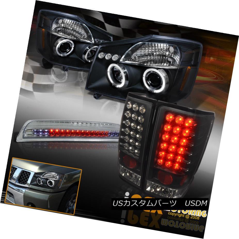 テールライト Halo Projector Black Headlight + LED Tail Light + Brake Light For NISSAN TITAN Haloプロジェクターブラックヘッドライト+ LEDテールライト+日産タイタンのブレーキライト