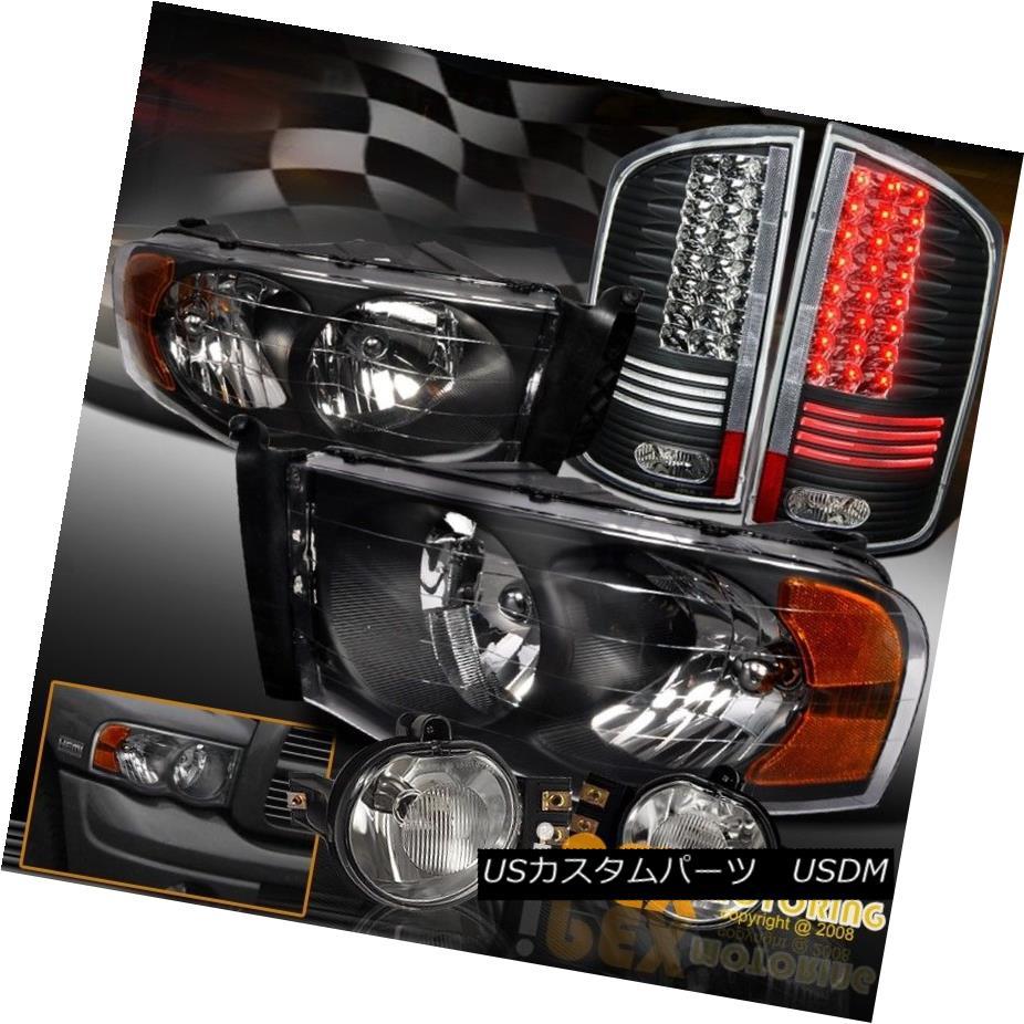 テールライト 02-05 Dodge Ram Headlight w/ Bulbs + Bright LED Tail Light & Full Fog Lamp Kit 02-05ダッジラムヘッドライト/球根+明るいLEDテールライト& フルフォグランプキット