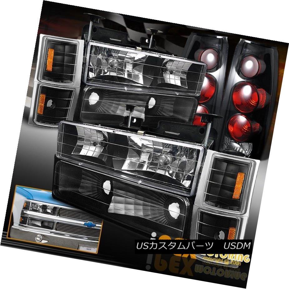 テールライト 94-98 Chevy Suburban Tahoe [COMPLETE 10PC] Black Headlight+Dark Smoke Tail Light 94-98シボレー郊外のタホ[完全な10PC]ブラックヘッドライト+ダークスモークテールライト
