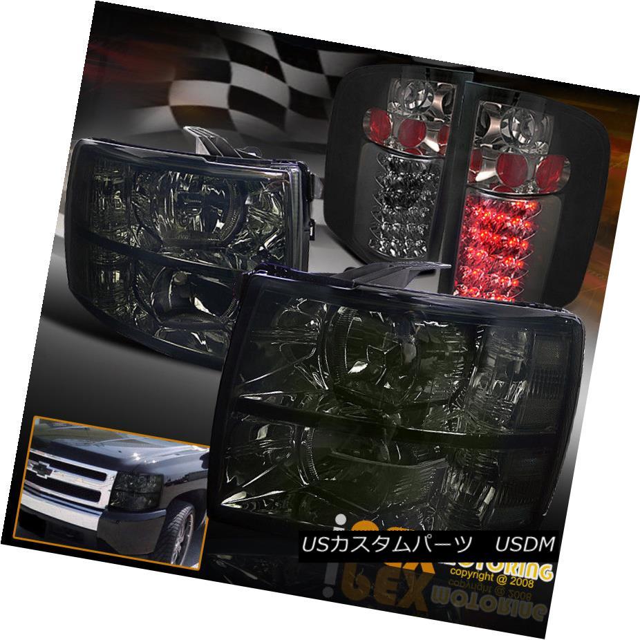 テールライト New 2007-2014 Chevy Silverado BlackOut Smoked Headlights + Smoke LED Tail Light 新しい2007年から2014年のシェビーSilverado BlackOutスモークヘッドライト+スモークLEDテールライト
