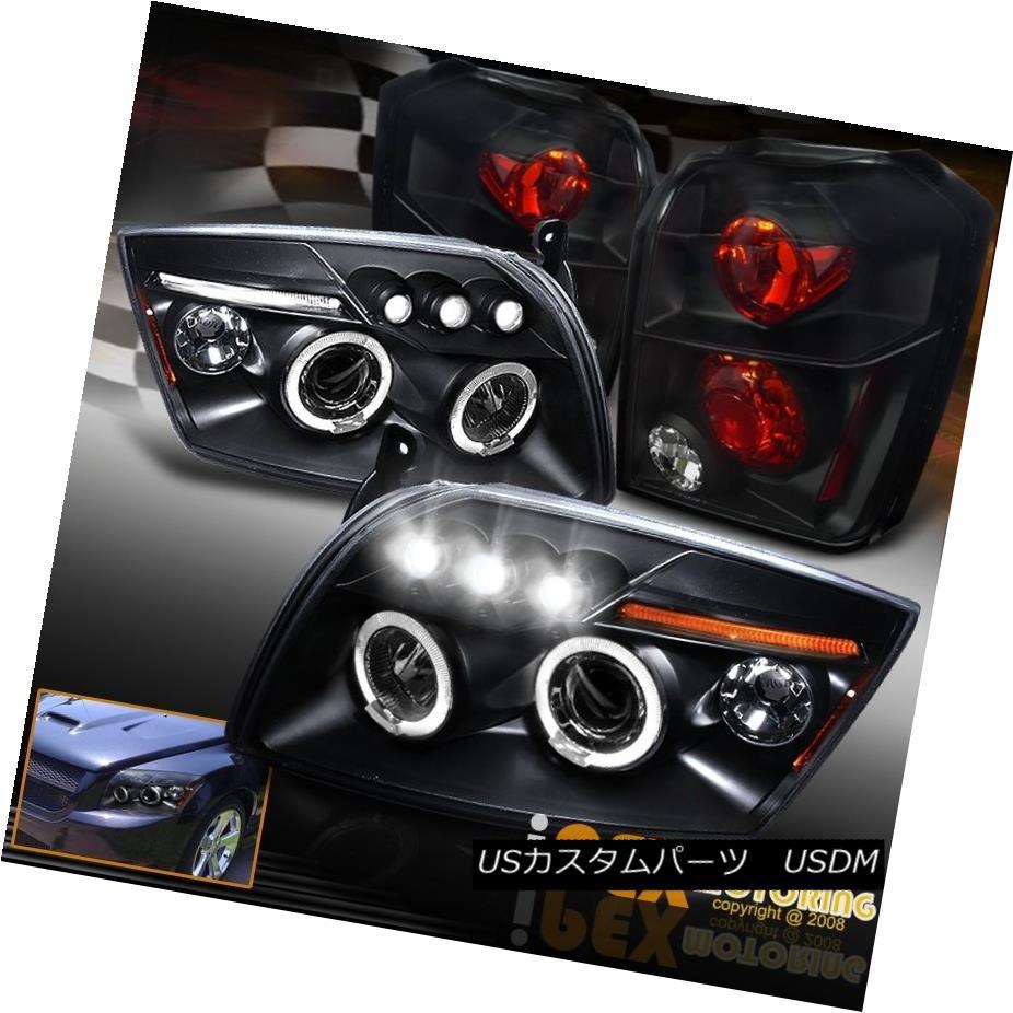 テールライト 2007-2012 Dodge Caliber Glow Halo Projector LED Headlights + Tail Lights Black 2007-2012 Dodge Calibre Glow HaloプロジェクターLEDヘッドライト+テールライトブラック