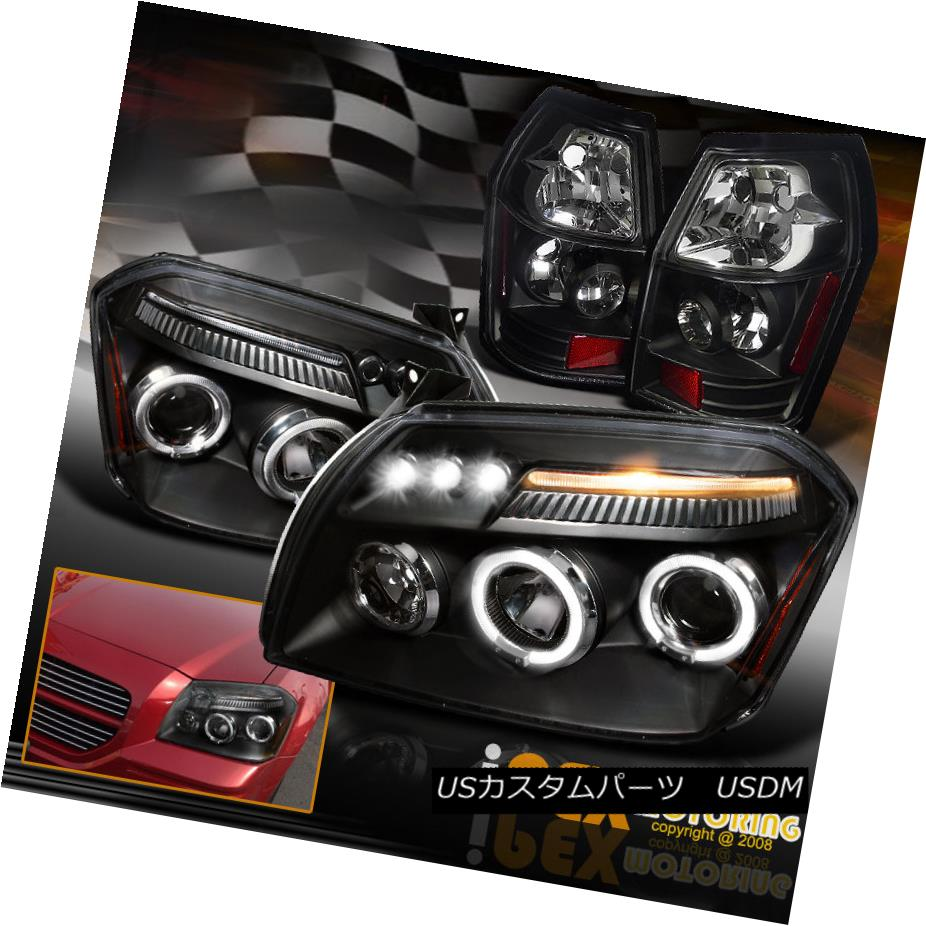 テールライト NEW 2005-2007 Dodge Magnum Halo Projector LED Headlights W/ Tail Lights Black NEW 2005-2007 Dodge Magnum HaloプロジェクターLEDヘッドライトW /テールライトブラック