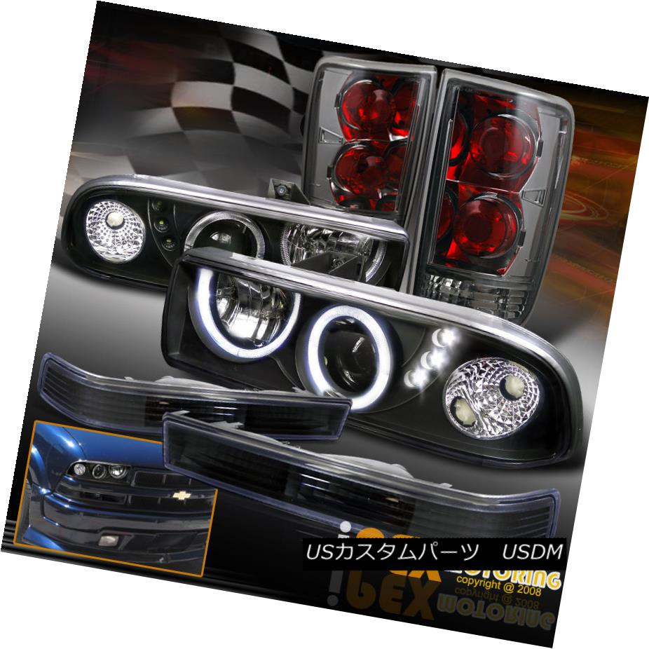テールライト For Chevy Blazer Black Projector Headlights + Soft-Smoked Tail Lights + Signals シェビーブレイザーブラックプロジェクターヘッドライト+ソフトスモークテールライト+信号用