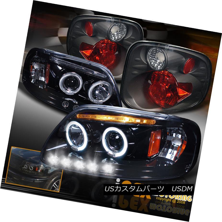 テールライト 2001-2003 Ford F150 FlareSide SuperCrew Projector LED Black Headlight+Tail Light 2001-2003 Ford F150 FlareSide SuperCrewプロジェクターLEDブラックヘッドライト+テールライト