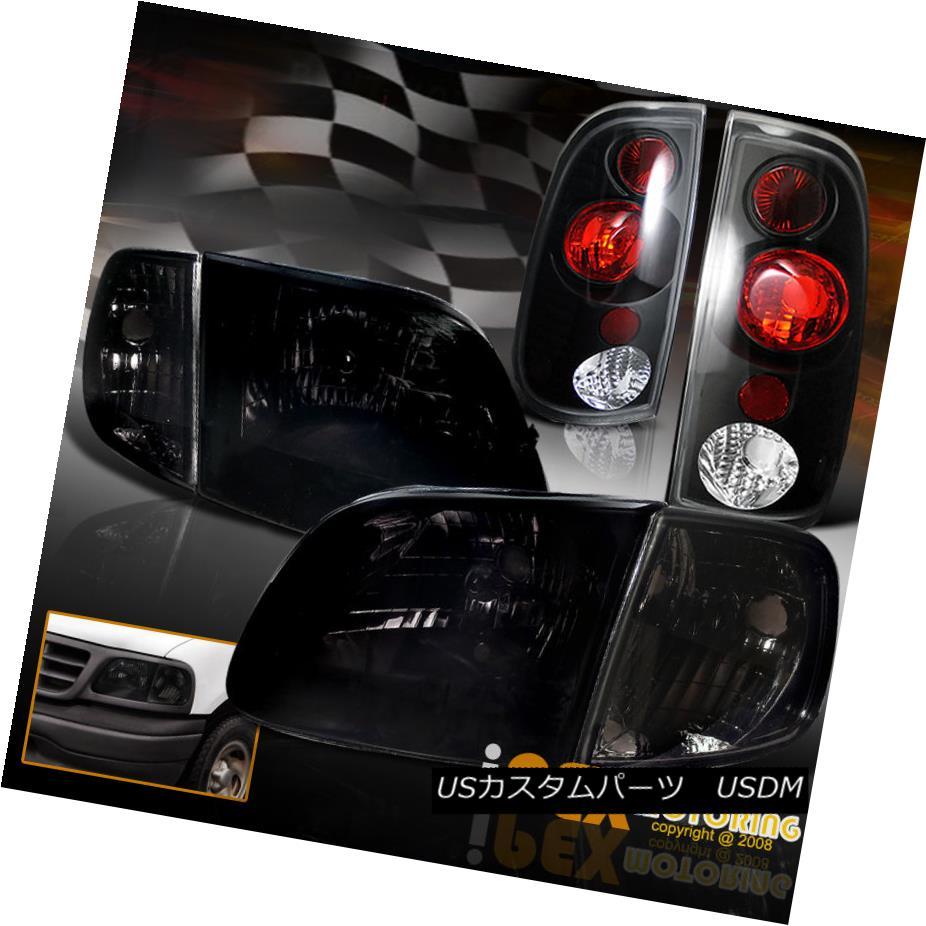 テールライト 1997-2003 Ford F150 Shiny Smoke Headlights + Corner Signals + Black Tail Lights 1997?2003年フォードF150シャイニースモークヘッドライト+コーナー信号+ブラックテールライト