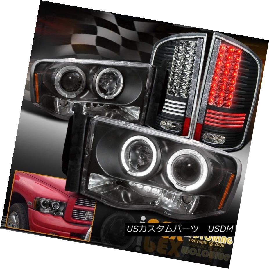 テールライト 02-05 Dodge Ram 1500 2500 Black Projector Headlights + Glow Tube LED Tail Light 02-05 Dodge Ram 1500 2500ブラックプロジェクターヘッドライト+グローチューブLEDテールライト