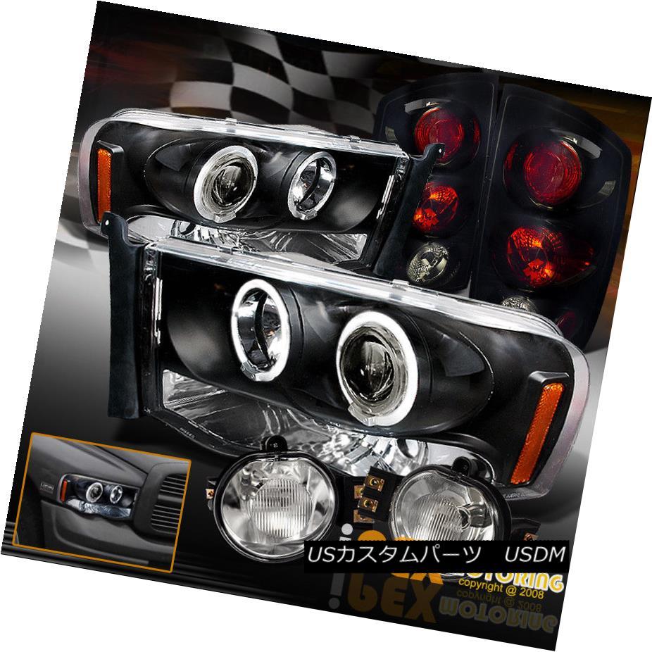 テールライト 02-05 Dodge Ram Halo Projector LED Headlight + Gloss Black Tail Light + Fog Lamp 02-05 Dodge Ram HaloプロジェクターLEDヘッドライト+光沢ブラックテールライト+フォグランプ