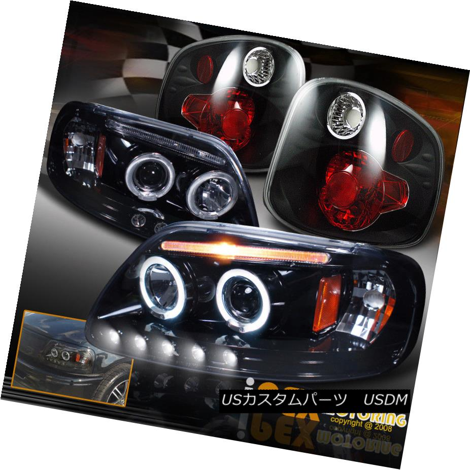 SMOKE TAIL LIGHTS 01-03 FORD F150 FLARESIDE HALO LED BLK PROJECTOR HEADLIGHTS