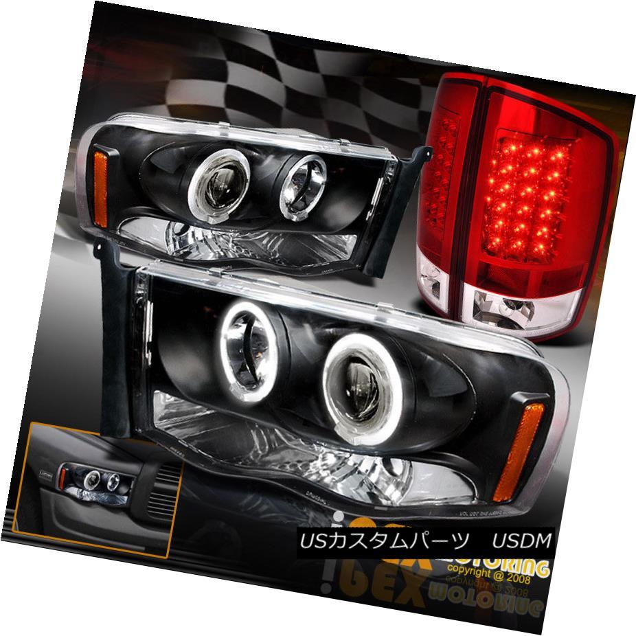 テールライト 2002-2005 Dodge Ram Halo Rim Projector Black Headlights + LED RED Tail Light 2002-2005 Dodge Ram Halo Rimプロジェクターブラックヘッドライト+ LED REDテールライト