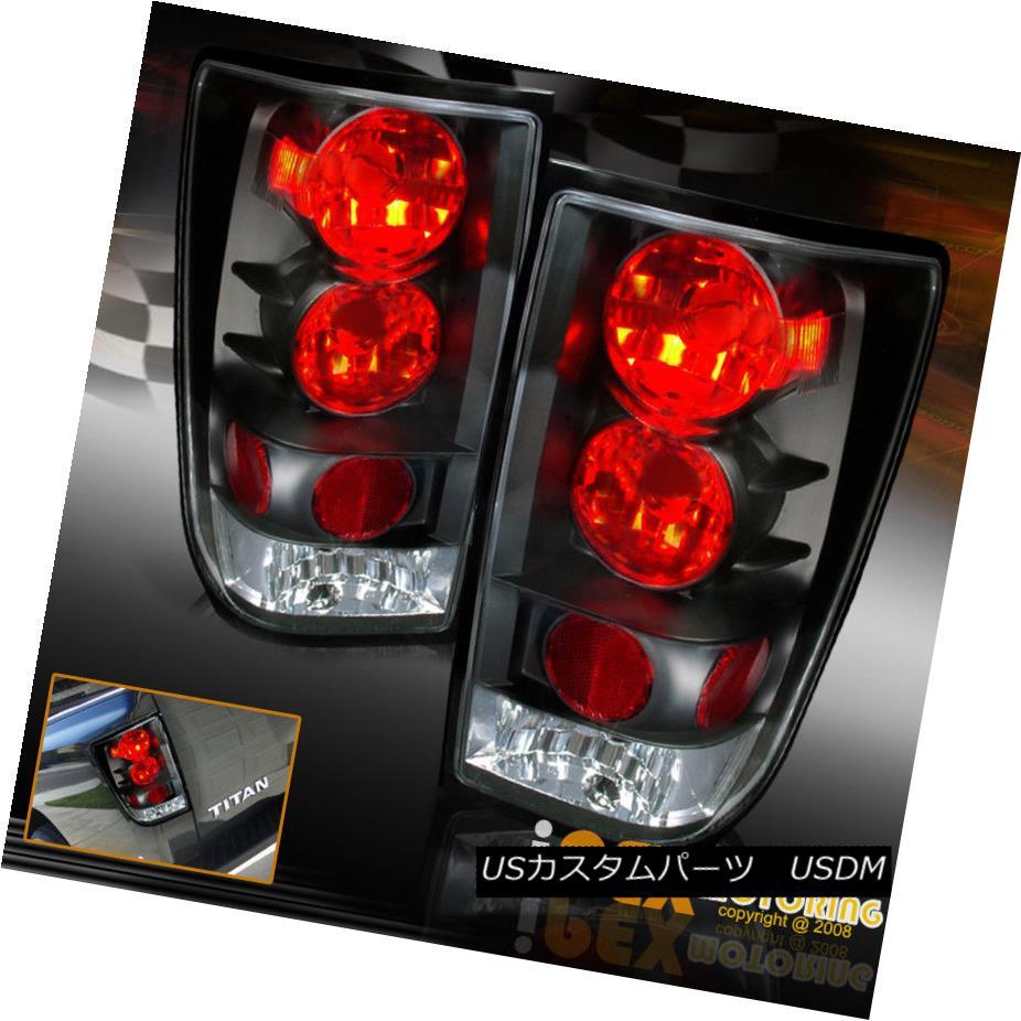テールライト New Pair Left+Right Black Euro Tail Lights For 2004-2014 Nissan Titan 2004年?2014年の新しいペアの左+右黒ユーロテールライト日産タイタン
