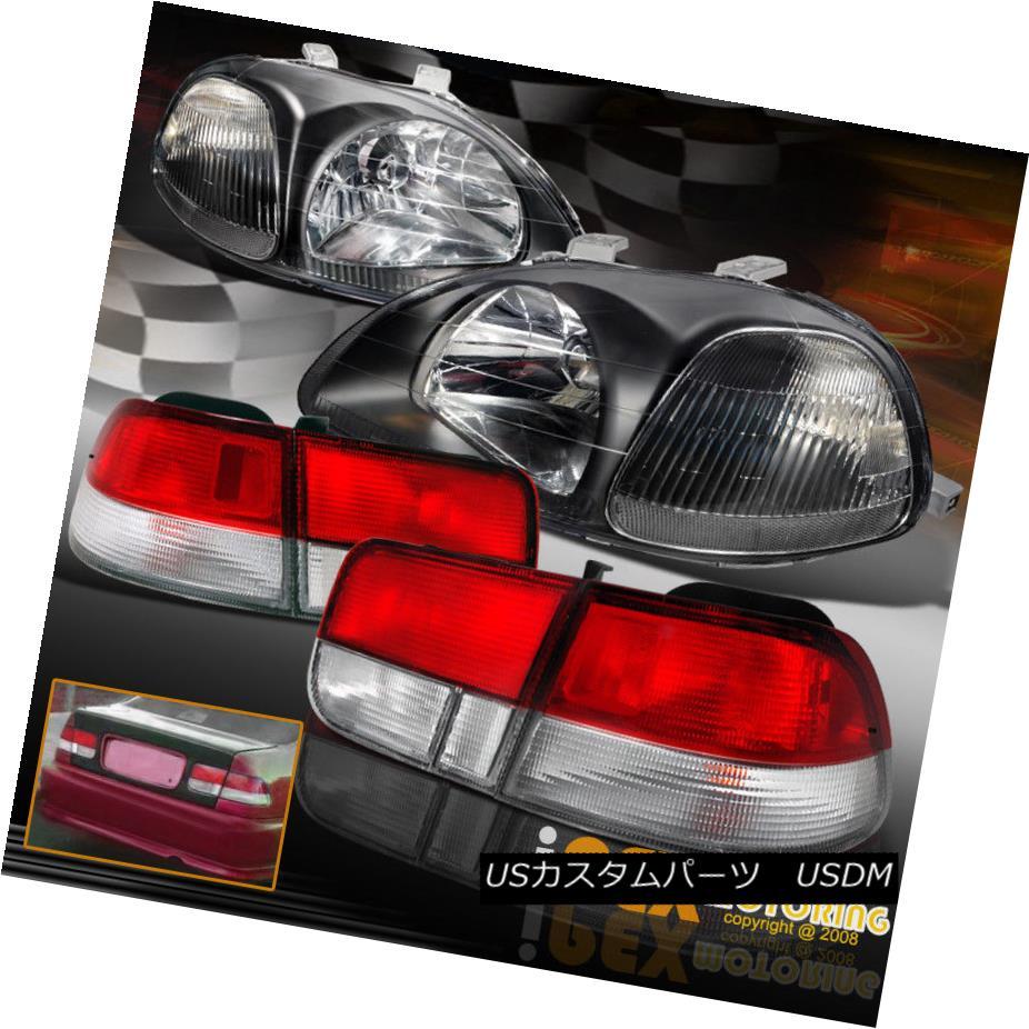 テールライト 1996 1997 1998 Honda Civic JDM Black EK Headlights + Type-R Red Tail Light 1996 1997 1998ホンダシビックJDMブラックEKヘッドライト+タイプ-Rレッドテールライト