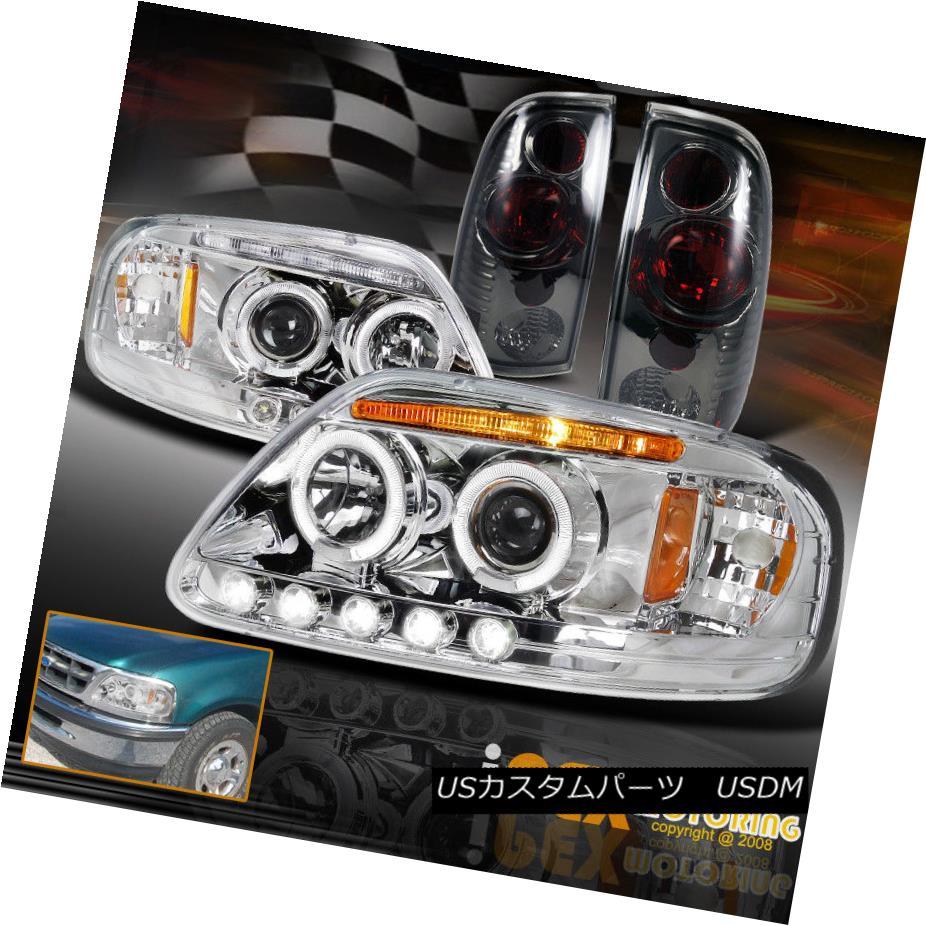 テールライト 1997-2003 Ford F150 Glow Halo Projector Chrome LED Headlights + Smoke Tail Light 1997-2003フォードF150グローハロープロジェクタークロームLEDヘッドライト+煙テールライト