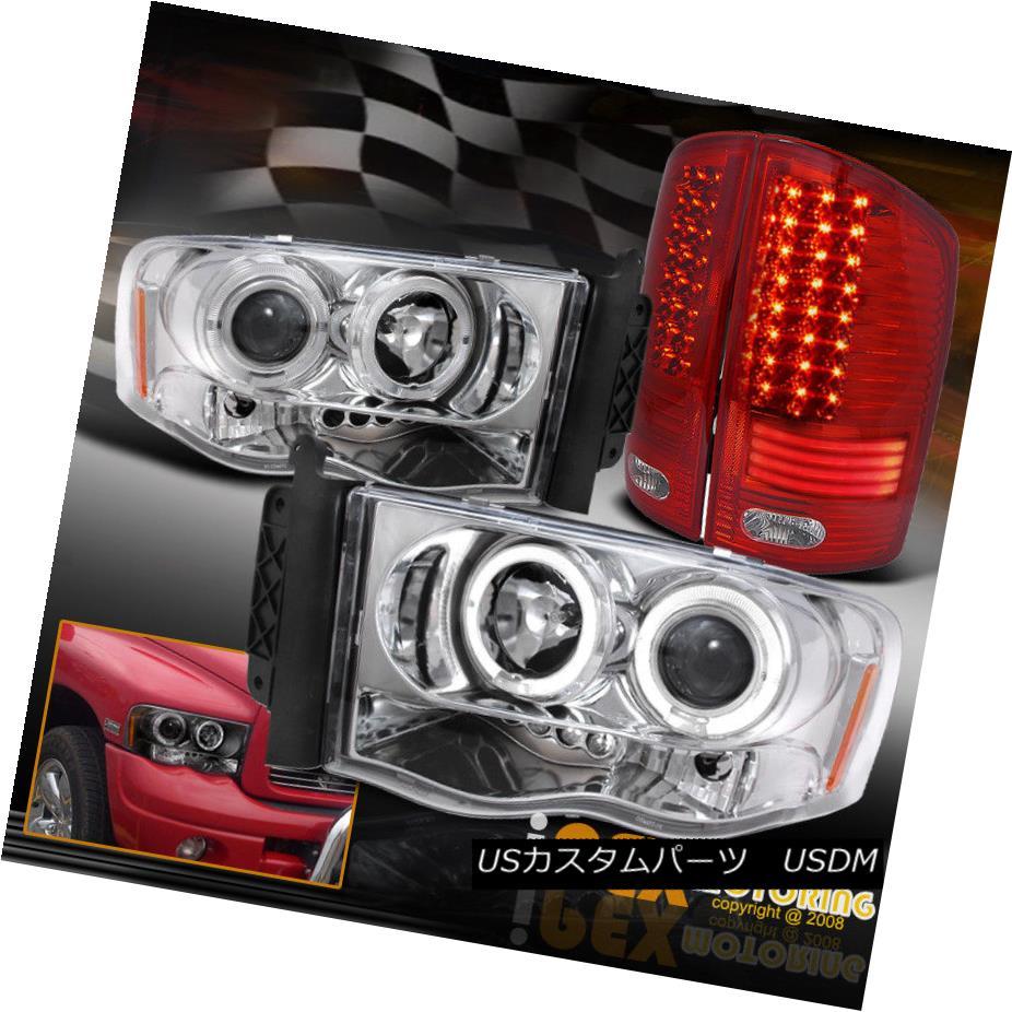 テールライト 2002-2005 Dodge Ram Halo Projector Chrome Headlights + Glow Strip LED Tail Light 2002-2005ダッジラムハロープロジェクタークロームヘッドライト+グローストリップLEDテールライト