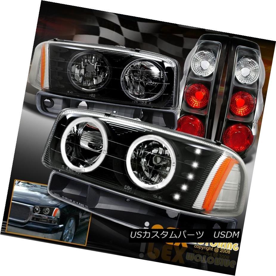 テールライト For 1999-2003 GMC Sierra Dual Halo Black LED Headlights W/ Signals + Tail Lights 1999?2003年GMC SierraデュアルハローブラックLEDヘッドライト(シグナル/テールライト用)
