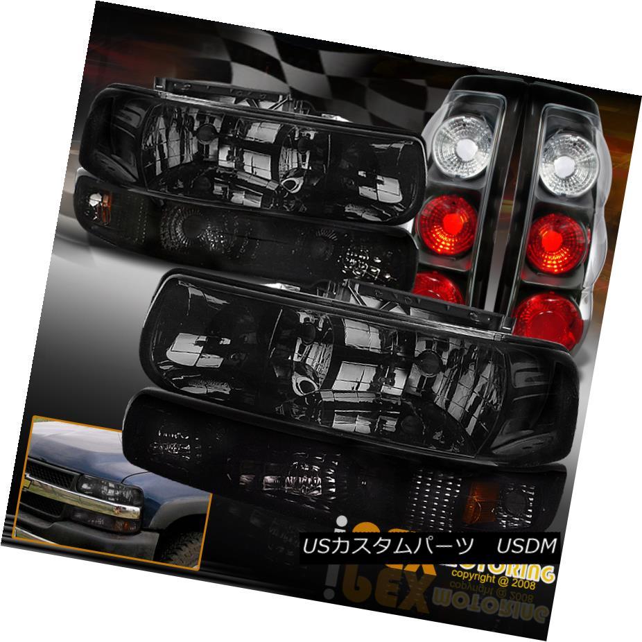 テールライト 1999-2002 Chevy Silverado Dark Smoke Headlights + Signals + Black Tail Lights 1999-2002シボレーシルバラードダークスモークヘッドライト+信号+ブラックテールライト
