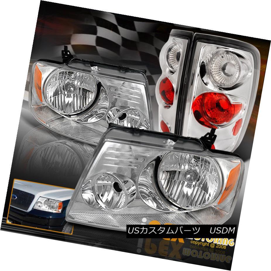 テールライト New 2004-2008 F150 Pickup Chrome Headlights + Euro Tail Lights Brand New Set 新しい2004-2008 F150ピックアップクロームヘッドライト+ユーロテールライトブランドの新しいセット