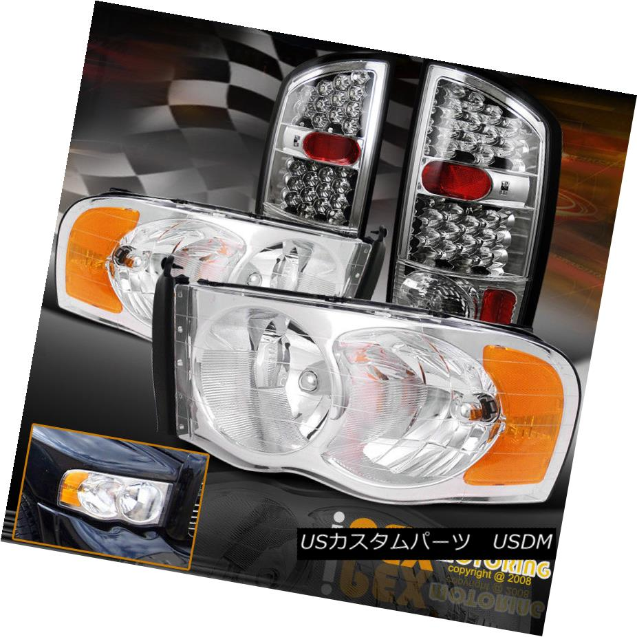 テールライト 2002-2005 Dodge Ram 1500/2500 Shiny Chrome Headlights W/ FULL LED Tail Lights 2002-2005 Dodge Ram 1500/2500シャイニークロームヘッドライトFULL LED Tail Lights