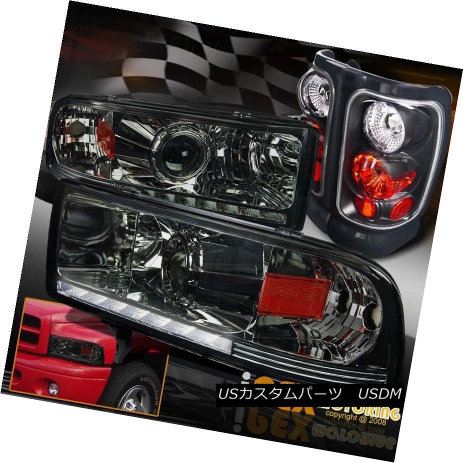 テールライト 94-01 Dodge Ram 1500 2500 3500 Projector LED Smoke Headlight W/ Black Tail Light 94-01 Dodge Ram 1500 2500 3500プロジェクターLEDスモークヘッドライトW /ブラックテールライト