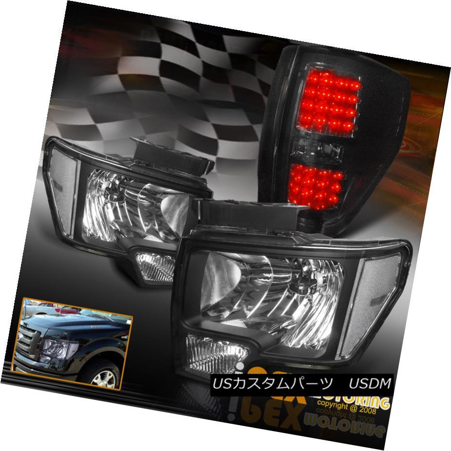 テールライト NEW For 2009-2014 Ford F150 Black Headlights + Brightest LED Smoke Tail Light NEW 2009-2014 Ford F150ブラックヘッドライト+最も明るいLEDスモークテールライト