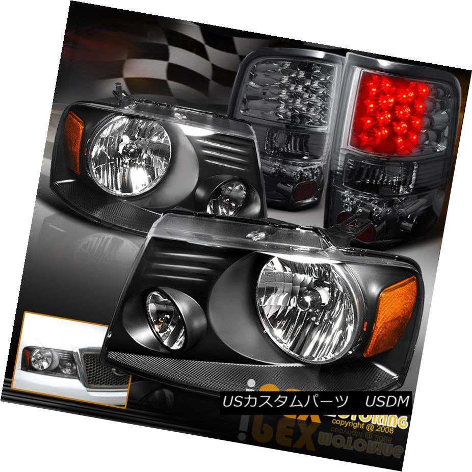 テールライト 2004-2008 Ford F150 F-150 PickUp Black Headlights + Bright LED Tail Lights Smoke 2004-2008フォードF150 F-150ピックアップブラックヘッドライト+ブライトLEDテールライトスモーク
