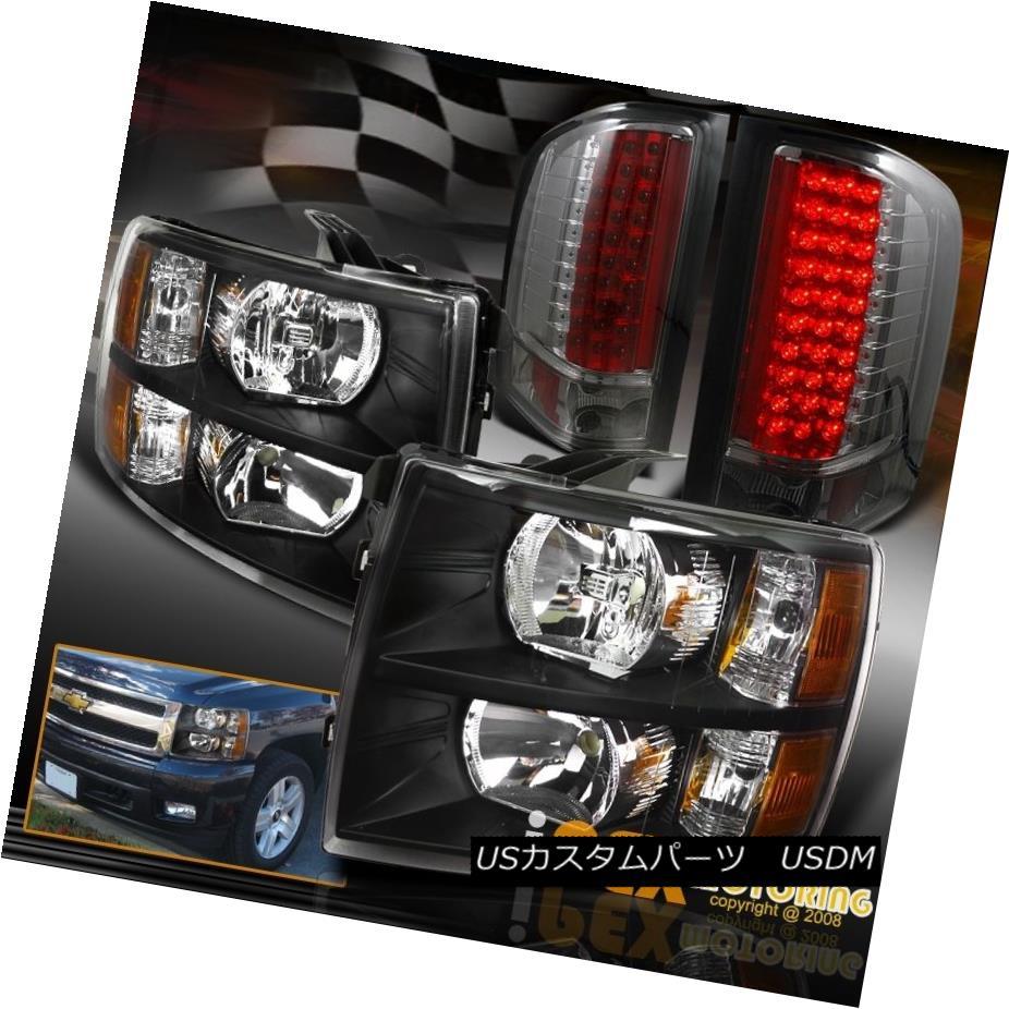 テールライト 2007-14 Silverado 1500 2500HD 3500HD Black Headlight + New Style LED Tail Light 2007年 - 14年Silverado 1500 2500HD 3500HDブラックヘッドライト+新しいスタイルのLEDテールライト