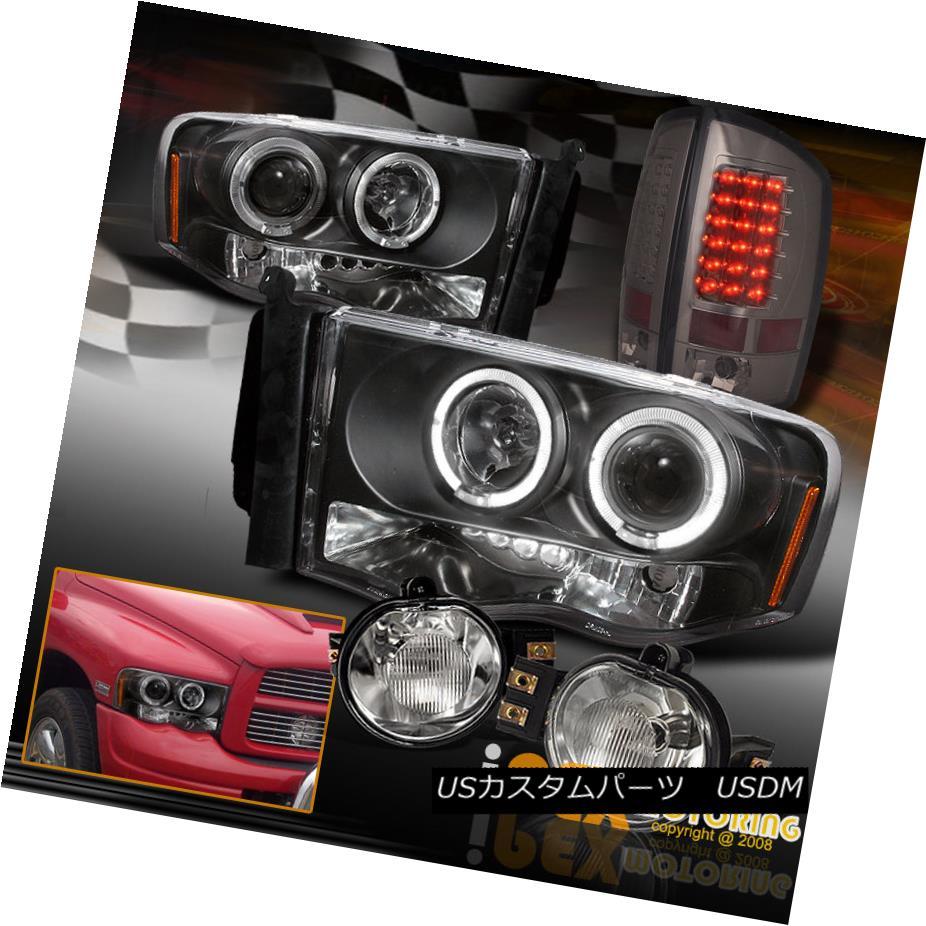 テールライト 02-05 Dodge Ram 1500 2500 Projector Black Headlight + LED Smoke Tail Light + Fog 02-05 Dodge Ram 1500 2500プロジェクターブラックヘッドライト+ LEDスモークテールライト+フォグ