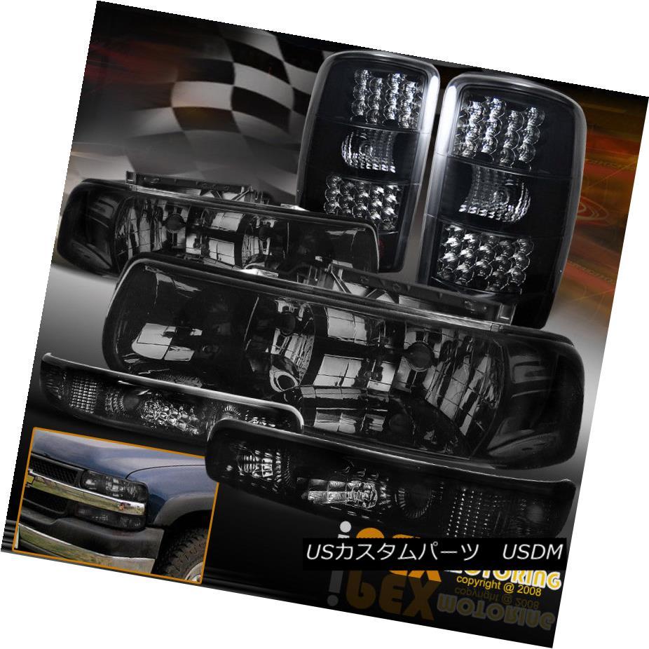 テールライト 2000-2006 Chevy Suburban SHINY SMOKE Headlights+Signal+Dark Smoke LED Tail Light 2000-2006シボレー郊外SHINY SMOKEヘッドライト+ SIG nal +ダークスモークLEDテールライト