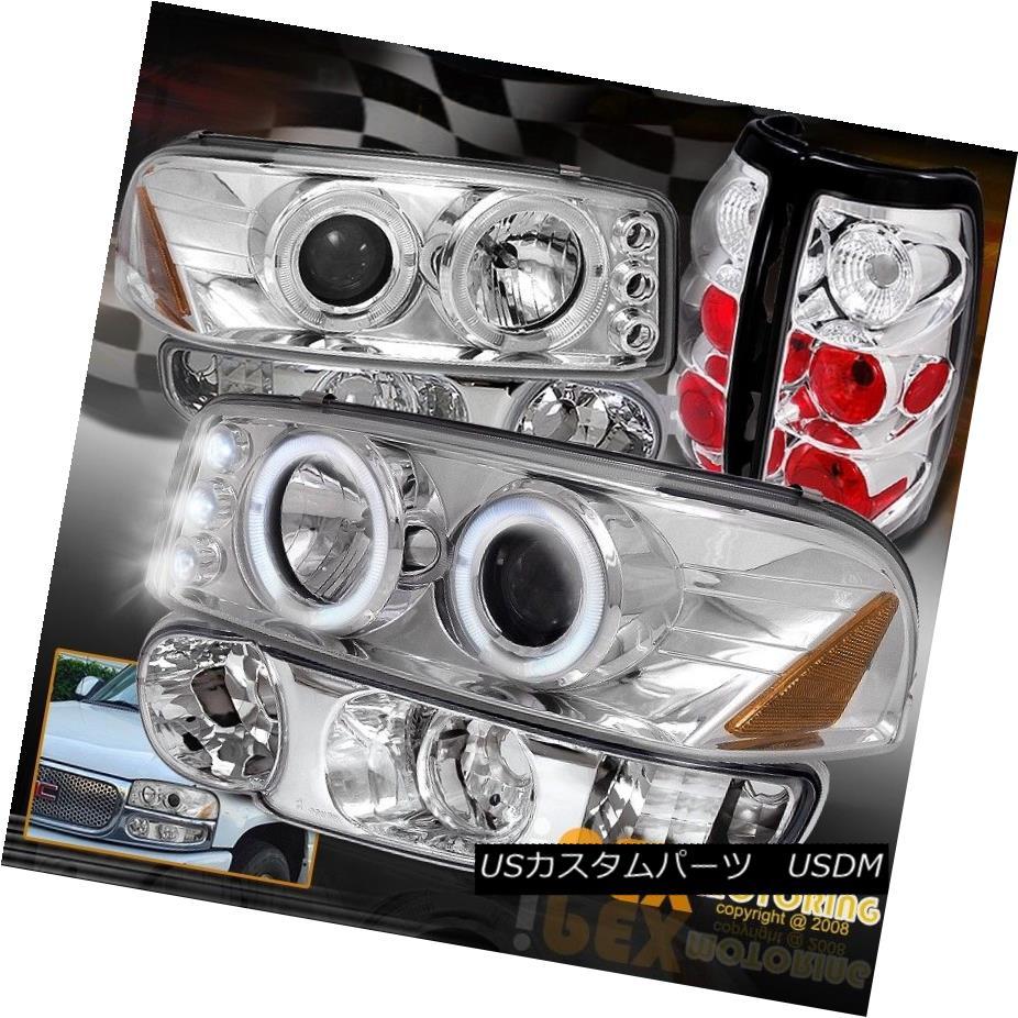 テールライト 02-03 GMC Sierra Denali Projector LED Headlights W/Signal + Tail Light Chrome 02-03 GMC Sierra DenaliプロジェクターLEDヘッドライトW /信号+テールライトクローム