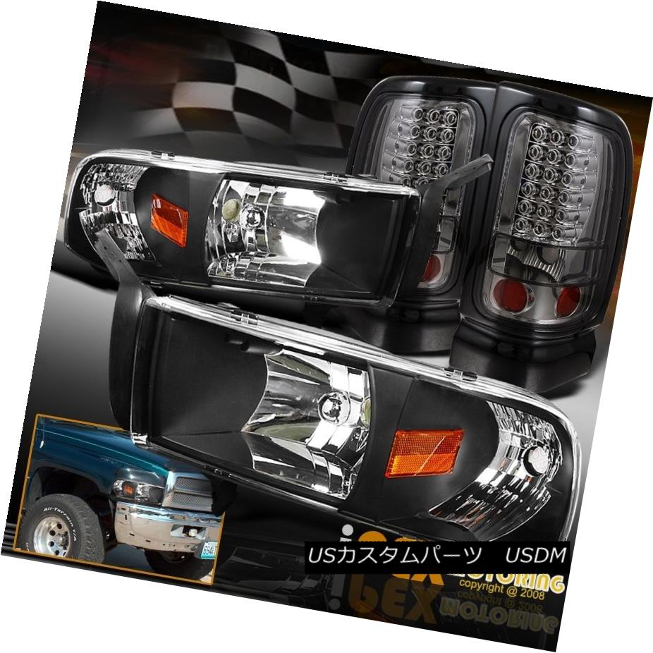 テールライト 1994-2001 Dodge Ram 1500 2500 3500 Black Signal Head Light + Smoke LED Tail Lamp 1994-2001 Dodge Ram 1500 2500 3500ブラックシグナルヘッドライト+スモークLEDテールランプ
