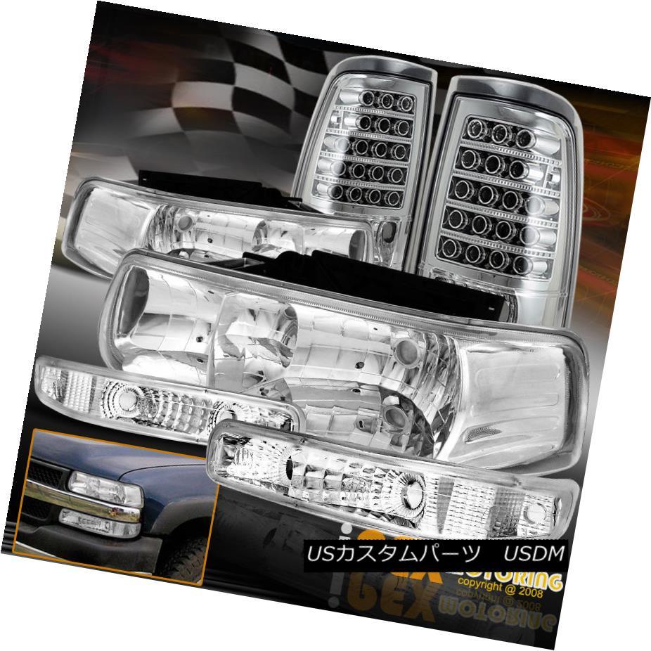 テールライト Chrome Set 1999-2002 Chevy Silverado Head Light + Signal Lamp+ LED Tail Light Chrome Set 1999-2002シボレーシルバラードヘッドライト+シグナルランプ+ LEDテールライト