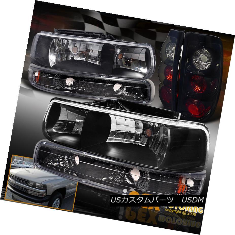 テールライト 1999-2002 Chevy Silverado Black Headlights W/Signals + Smoked-Black Tail Lights 1999-2002シボレーシルバラードブラックヘッドライトW /シグナル+スモークブラックテールライト
