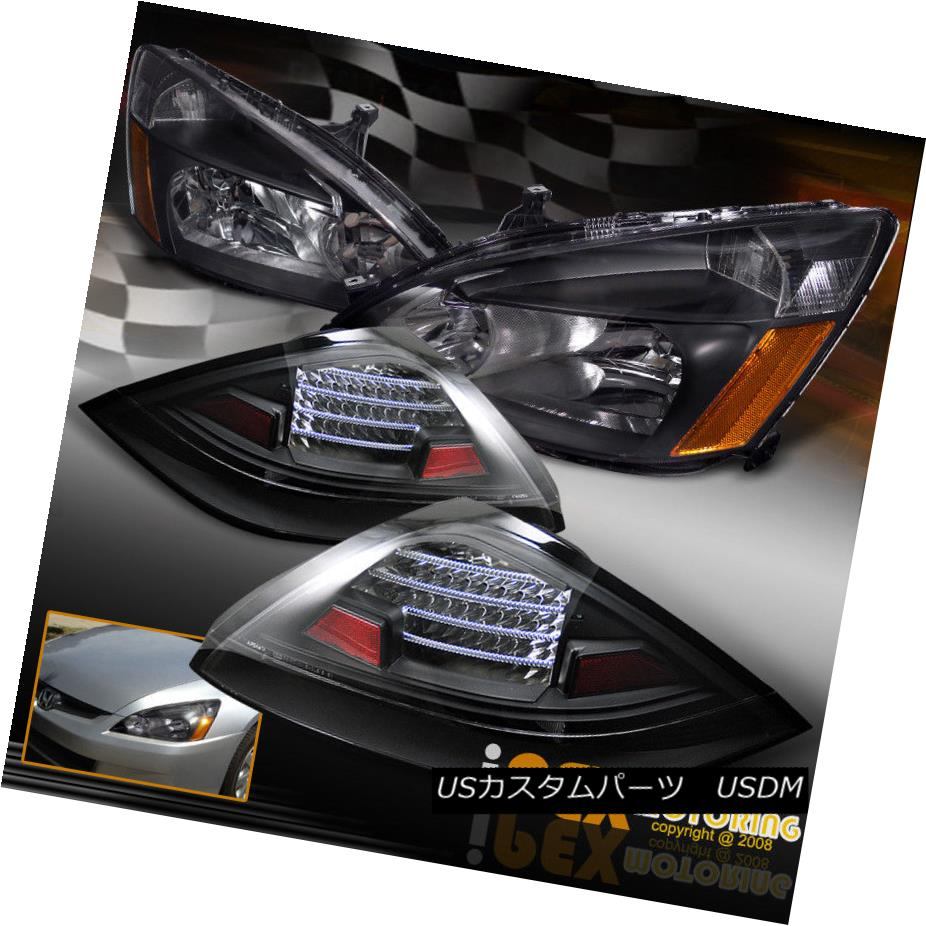 テールライト For 2003-2005 Honda Accord Coupe 2Dr Black Headlights W/ LED Black Tail Lights 2003 - 2005年ホンダアコードクーペ2DrブラックヘッドライトW / LEDブラックテールライト