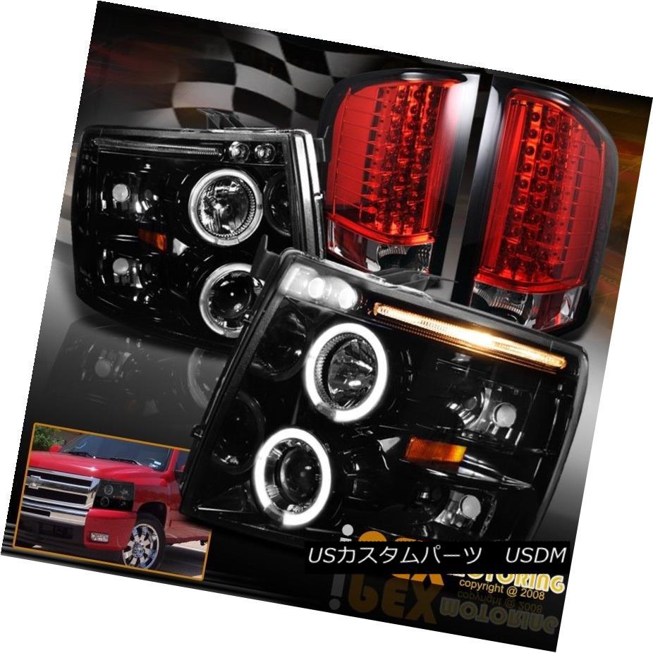 テールライト 2007-2014 Chevy Silverado Dual Halos Projector Headlights W/ LED Red Tail Light 2007年?2014年シボレーシルバラードデュアルハロープロジェクターヘッドライトW / LEDレッドテールライト