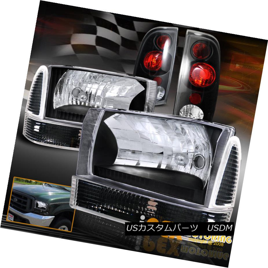 テールライト 1999-2004 Ford F250/F350 [Super-Duty] Black Headlights +Corner +Black Tail Light 1999-2004フォードF250 / F350 [スーパーデューティー]ブラックヘッドライト+コーナー+ブラックテールライト