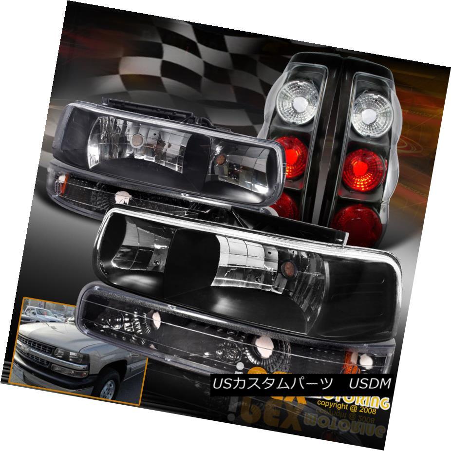 テールライト 1999-2002 Chevy Silverado Black Headlights W/ Bumper Signals + Tail Lights Black 1999-2002シボレーシルバラードブラックヘッドライトW /バンパーシグナル+テールライトブラック