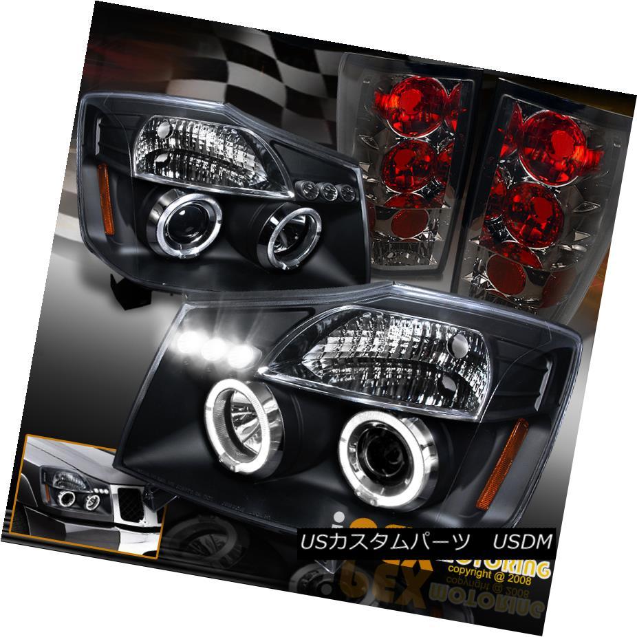 テールライト For 2004-2014 Nissan Titan Halo Projector LED Black Headlight + Smoke Tail Light 2004年?2014年日産タイタン・ハロー・プロジェクターLEDブラックヘッドライト+煙テールライト