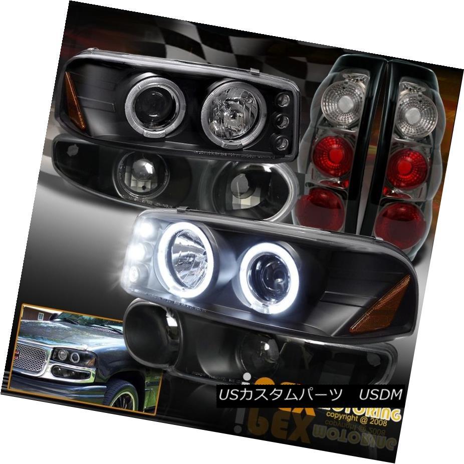 テールライト 02-03 GMC Sierra Denali Halo Projector Black Headlight W/Signal+Smoke Tail Light 02-03 GMC Sierra Denali HaloプロジェクターブラックヘッドライトW /シグナル+煙テールライト