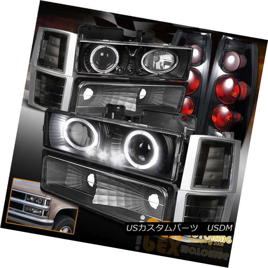 テールライト 94-98 GMC Sierra Yukon Halo Projector Black LED Headlight+Dark Smoke Tail Lights 94-98 GMC Sierra Yukon HaloプロジェクターブラックLEDヘッドライト+ダークスモークテールライト
