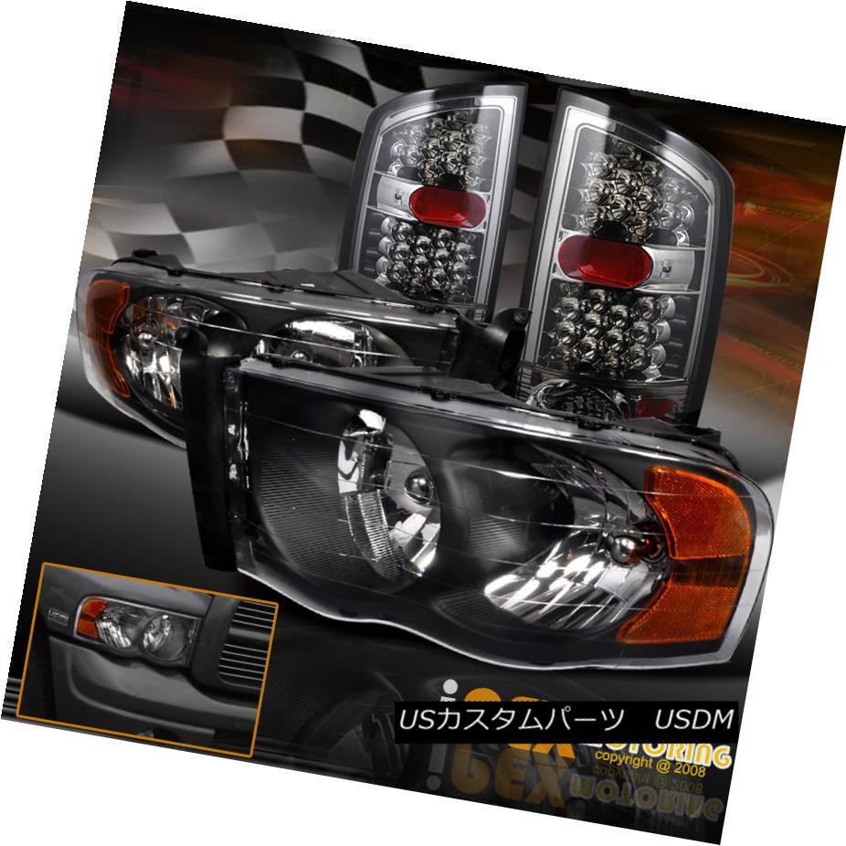 2002-2005 Dodge Ram Black Headlights+Tail Brake Lamps+Smoke Bumper Fog Lights