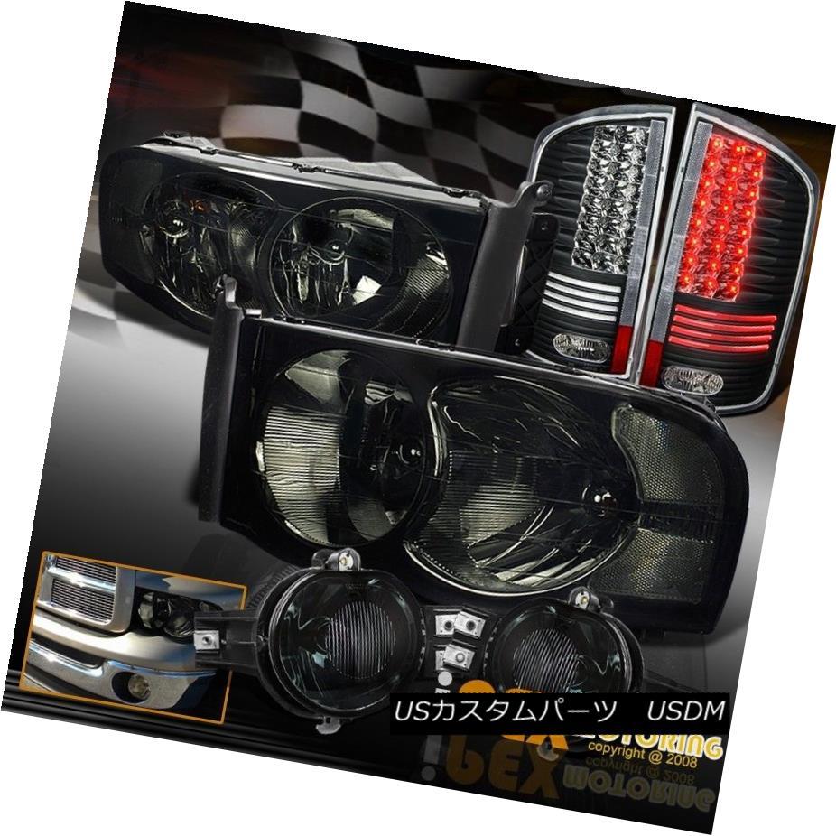 テールライト 02-05 Dodge Ram 1500/2500 Smoke Headlight & Fog Lamp + Glow Tube LED Tail Light 02-05ダッジラム1500/2500スモークヘッドライト& フォグランプ+グローチューブLEDテールライト