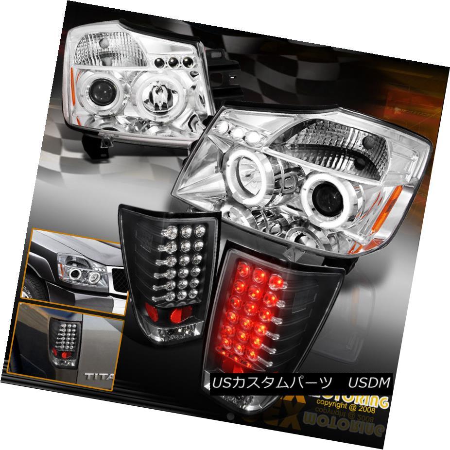 テールライト New For 2004-2014 Titan Halo Projector Chrome Headlights + LED Black Tail Lights 2004年?2014年の新バージョンTitan Haloプロジェクタークロームヘッドライト+ LEDブラックテールライト