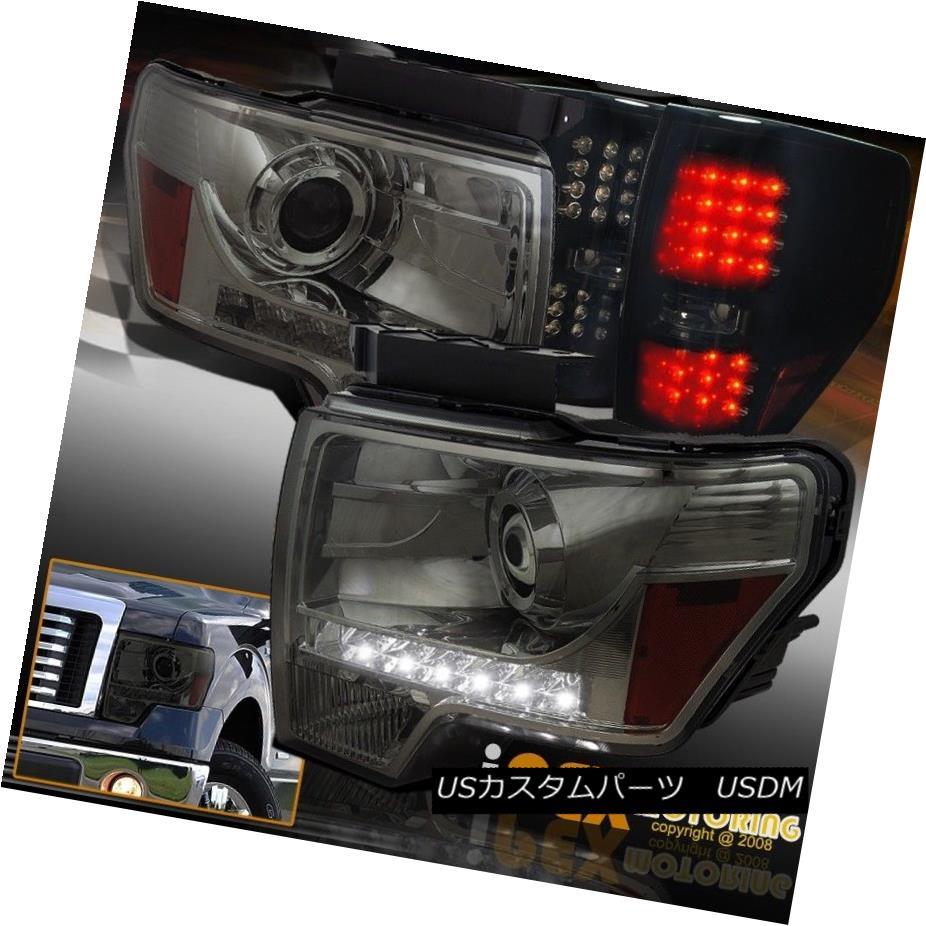 テールライト 4PC Smoked Set For 09-14 Ford F150 Projector LED Head Lights W/ LED Tail Lights 4PCスモークセット09-14フォードF150プロジェクターLEDヘッドライトW / LEDテールライト