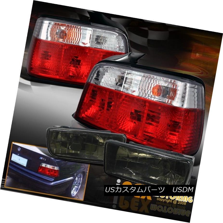 テールライト 1992-1998 BMW E36 [3-Series] 4 Dr Sedan Red Clear Tail Lights W/ Smoke Fog Lamps 1992-1998 BMW E36 [3-Series] 4 DrセダンレッドクリアテールライトW /スモークフォグランプ